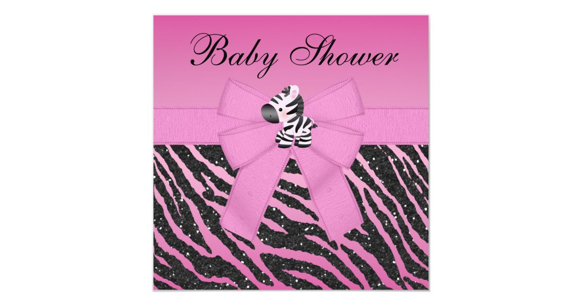 Pink zebra printed bow glitter look baby shower for Pink and zebra bathroom ideas