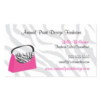 Pink Zebra Purse Fashion Business Card