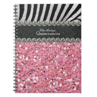 Pink Zebra Quinceanera Personalized Spiral Notebook
