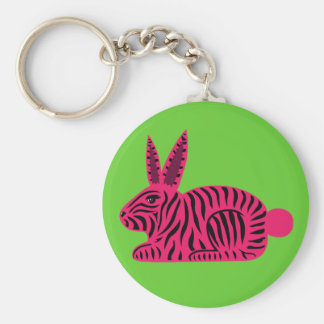 Pink Zebra Rabbit Keychain