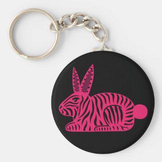 Pink Zebra Rabbit Key Chains