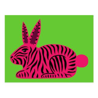 Pink Zebra Rabbit Post Card