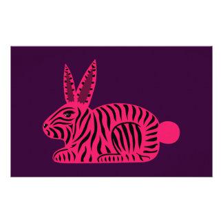 Pink Zebra Rabbit Stationery