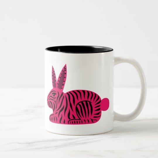 Pink Zebra Rabbit Two-Tone Coffee Mug