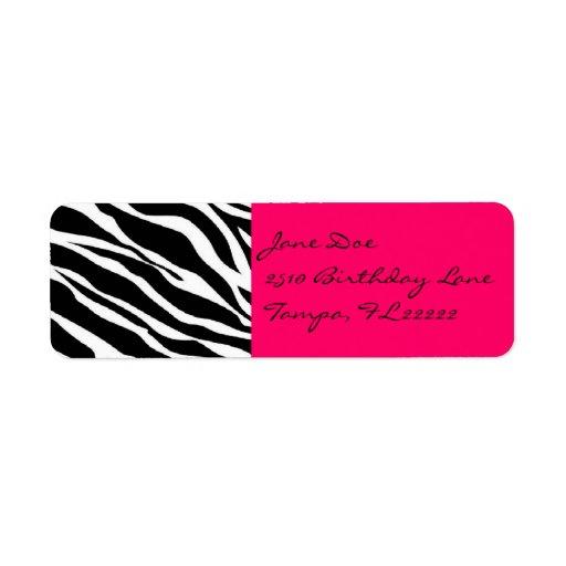 Pink Zebra Return Address Label | Zazzle