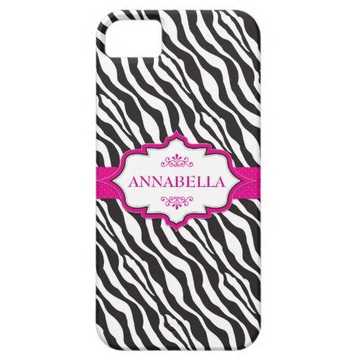 Pink Zebra Ribbon iPhone 5 Case