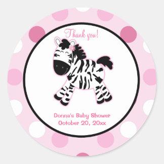 Pink Zebra Round Favor Sticker