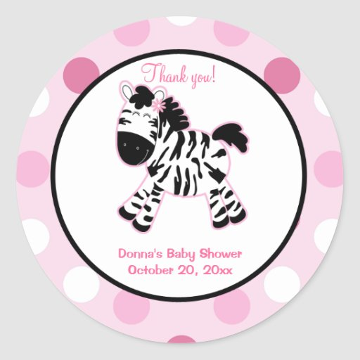 Pink Zebra Round Favor Sticker