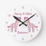 Pink Zebra Sisters Personalized Shared Bedroom Round Clocks
