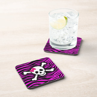 Pink Zebra Skull Coaster Set of Six