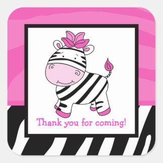 Pink Zebra Square Favor Stickers (6 Large)