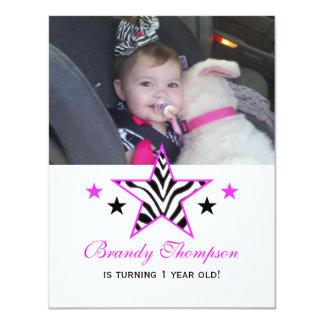Pink Zebra Star: Picture Birthday Party Invitation