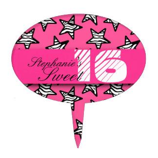 Pink zebra stars Sweet 16 Birthday Cakepick Cake Toppers