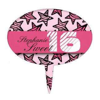 Pink zebra stars Sweet 16 Birthday Cakepick Cake Picks