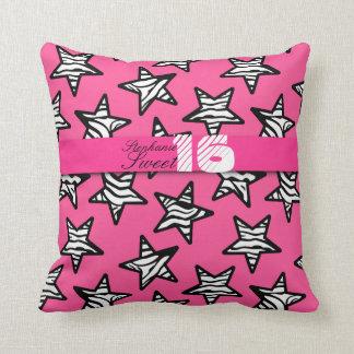 Pink zebra stars Sweet 16 Birthday Pillow