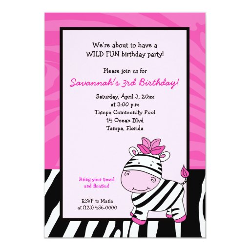 Pink Zebra Stripe 5x7 Birthday Invitation