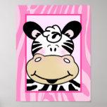 Pink Zebra Stripe Baby Girl Art Print 11 x 14