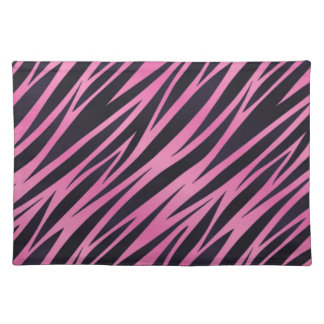 Pink Zebra Stripe Background Cloth Placemat