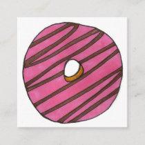 Pink Zebra Stripe Donut Doughnut Shop Breakfast Square Business Card