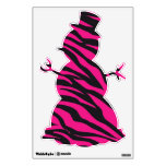 Pink Zebra Stripe Snowman Christmas Wall Decals