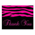 Pink Zebra Stripe Thank You Post Card