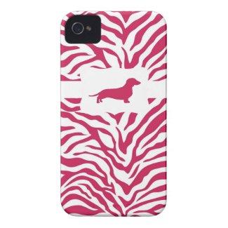 Pink Zebra Stripe w/Dachshund
