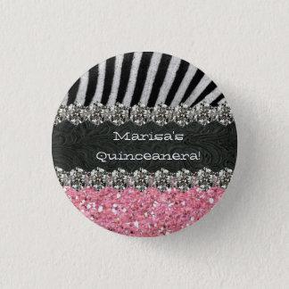 Pink Zebra Stripes Celebration Button