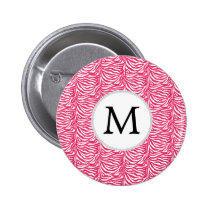 Pink zebra stripes customized monogram button