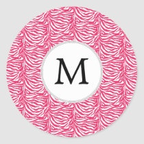 Pink zebra stripes customized monogram classic round sticker