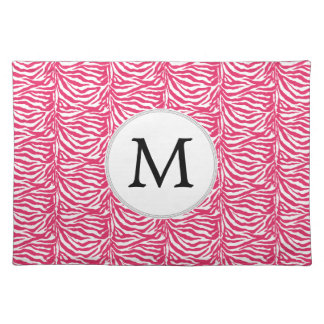 Pink zebra stripes customized monogram cloth placemat