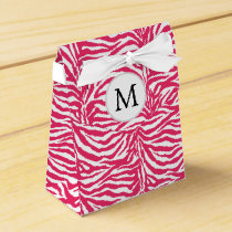 Pink zebra stripes customized monogram favor box