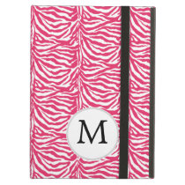 Pink zebra stripes customized monogram iPad air cover