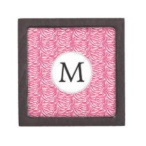 Pink zebra stripes customized monogram keepsake box