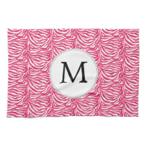 Pink zebra stripes customized monogram kitchen towel