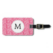 Pink zebra stripes customized monogram luggage tag