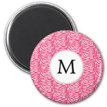 Pink zebra stripes customized monogram magnet