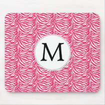 Pink zebra stripes customized monogram mouse pad