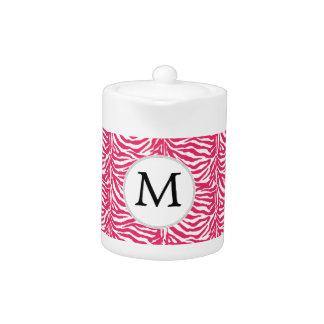 Pink zebra stripes customized monogram teapot