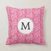 Pink zebra stripes customized monogram throw pillow