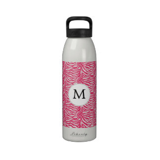 Pink zebra stripes customized monogram water bottles