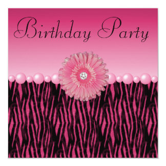 Pink Zebra Stripes Flower & Pearls Birthday Party Card