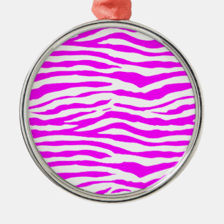 Pink Zebra Stripes Metal Ornament