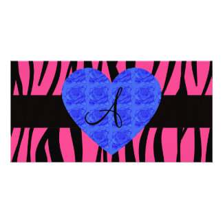 Pink zebra stripes monogram blue roses photo card