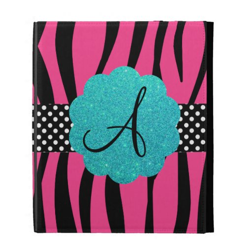 Pink zebra stripes monogram iPad folio cases