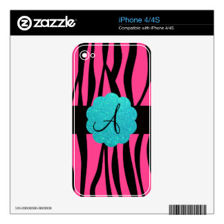 Pink zebra stripes monogram decal for iPhone 4