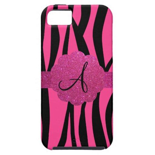 Pink zebra stripes monogram iPhone 5 case