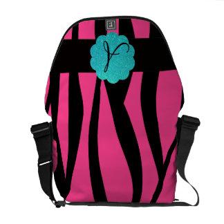 Pink zebra stripes monogram messenger bag
