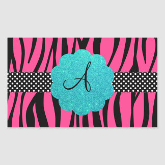 Pink zebra stripes monogram rectangular sticker