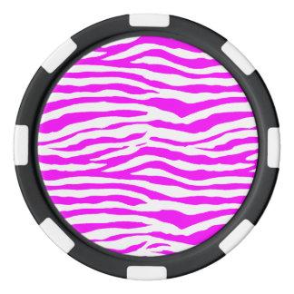 Pink Zebra Stripes Poker Chips Set