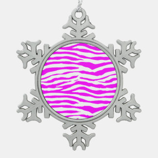 Pink Zebra Stripes Snowflake Pewter Christmas Ornament